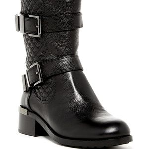Vince Camuto Black Leather Quilted Moto Boots, 7.5